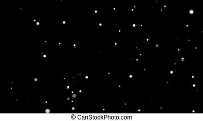 Animation movement of small white balls in space on a black background HD