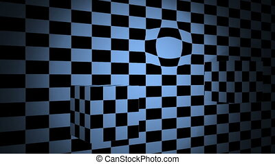 Moving cubes with bulge on checkered plane