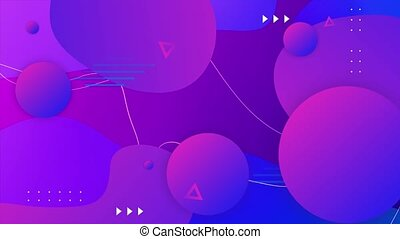 Animation abstract gradient liquid neon loop background balls, hatching shape elements. screensaver, advertisement, promo, presentation, game fashion shows, music award, disco concert occasions