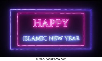 "Animation neon sign ""Happy New Year"" - Animation flashing..."