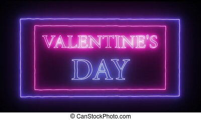 "Animation neon sign ""Valentine's Day"" - Animation flashing..."