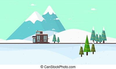 animation, noël, fond, hiver