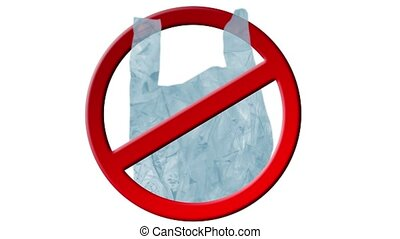 Animation with plastic bag, stop sign and text 'No Plastic Bag'