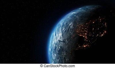 animation, nuit, lentement, tourner, la terre, planète, boucle, jour