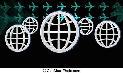 animation, numérique, avions, rebondir, vert, globes, cinq, ...
