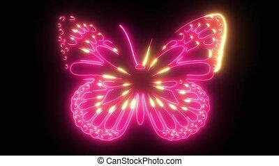 animation, numérique, laser, vidéo, papillon