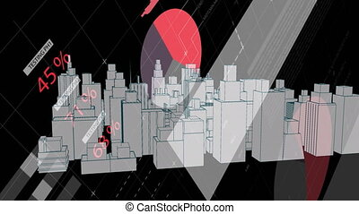 Animation of 3d architectural model of a modern city spinning