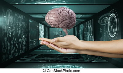 Animation of 3D brain with scientist scan screen in ...