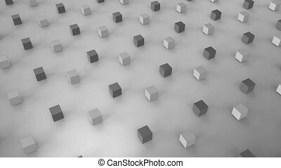 Animation of 3D cubes on pale grey background - Animation of...