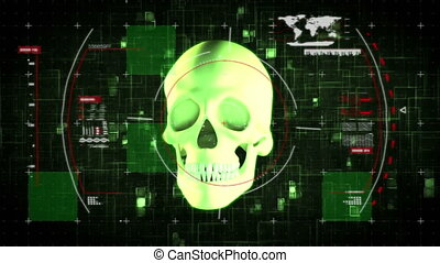 Animation of 3d glowing green human skull rotating on black background