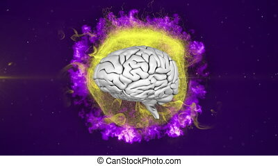 Animation of 3d human brain rotating on purple background...
