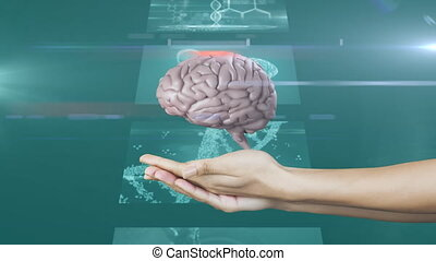Animation of 3d human brain spinning over hands with screens in the background.