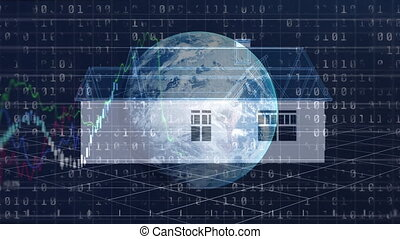 Animation of 3d model of a house and globe spinning over stock market display in the background