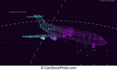 Animation of 3d technical drawing of model of aeroplane in purple to green outline spinning with global network of connections and data processing on dark blue background. Global connections travel engineering concept digitally generated image.