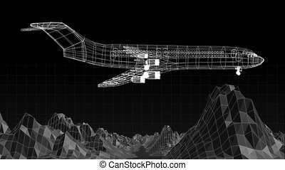 Animation of 3d technical drawing of model of aeroplane in white outline spinning digital mesh of mountain terrain moving on black background. Global connections travel engineering concept digitally generated image.