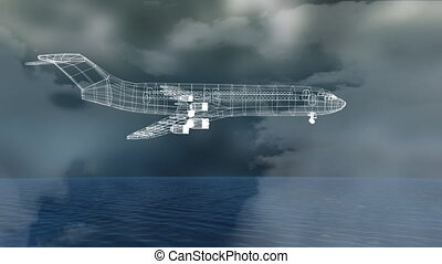Animation of 3d technical drawing of model of aeroplane in ...