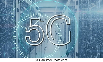 Animation of 5G in a server room