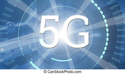 Animation of 5G on rotating circles and on dazzling white ...