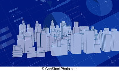 Animation of a 3d architectural model of a modern city