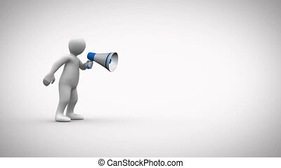 Animation of a 3D character yelling in a megaphone social...