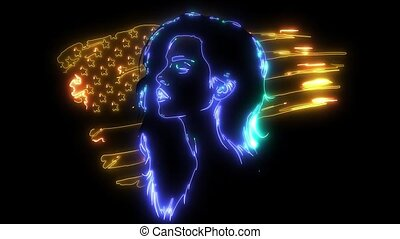animation of a beautiful young woman with the american flag in the background.