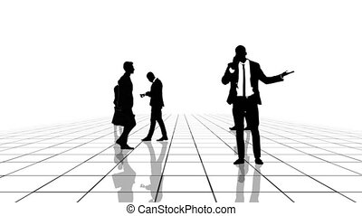 Animation of a black and white grid with business people silhouettes moving towards the camera. Seamlessly loopable animation.