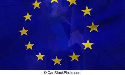 EU flag with businessmen shaking hands in the background