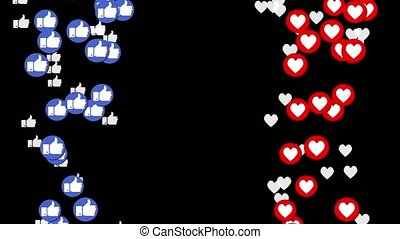 Animation of a blue likes and red hearts rising up. -...