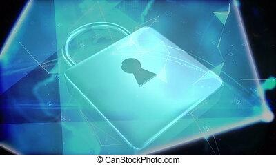 Animation of a blue padlock on black background