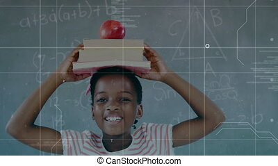 Animation of a boy holding a pile of books and an apple on his head over mathematics equations and data processing in the background. Social distancing and self isolation in quarantine lockdown digital composite.