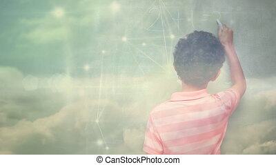 Animation of a boy with clouds floating over a web of connected dots in the background