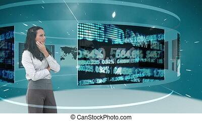 Animation of a businesswomen lookin