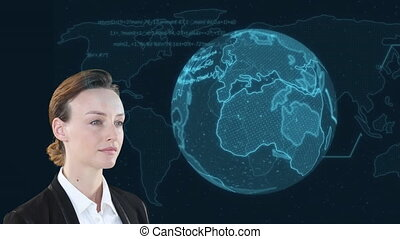 Animation of a Caucasian woman looking at a globe with words spinning