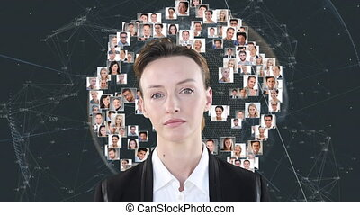 Animation of a Caucasian woman looking at the camera over a globe of people pictures spinning