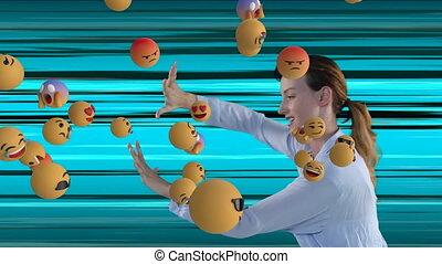 Animation of a Caucasian woman pushing floating emojis. ...