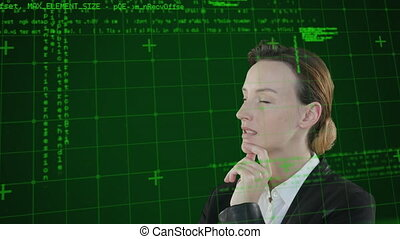 Animation of a Caucasian woman thinking over data and ...