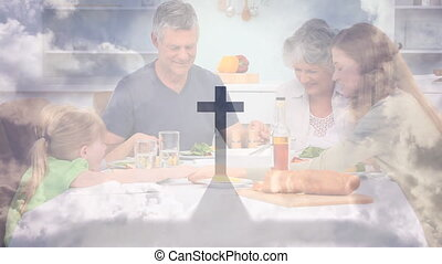 Animation of a Christian cross casting shadow over a ...