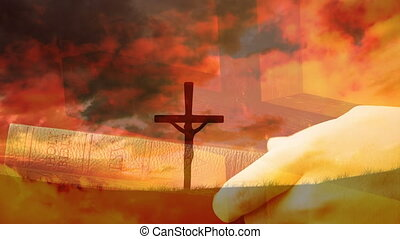 Animation of a Christian cross over a Caucasian man holding the Holy Bible
