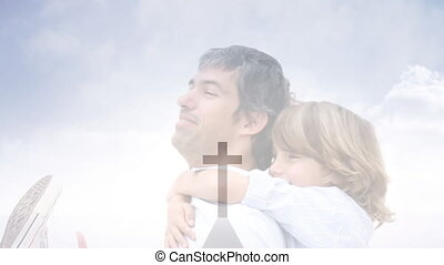Animation of a Christian cross over a dad ans his son - ...