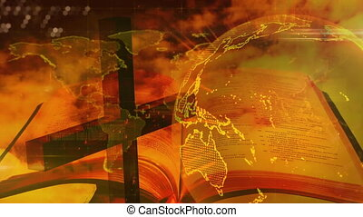 Animation of a Christian cross over a planet spinning around and the Holy Bible