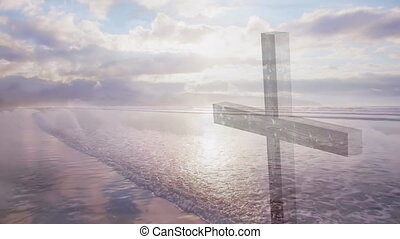 Animation of a Christian cross over moving clouds and the ...