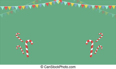 Animation of a Christmas candy candle and ribbon