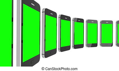 Animation of a chroma key screen of a smartphone against white background and alpha channel