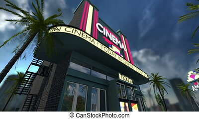 Animation of a cinema movie theater with rotating text on ...