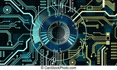 Animation of a circle spinning over blue and yellow microprocessor connections. Global market concept digital composition