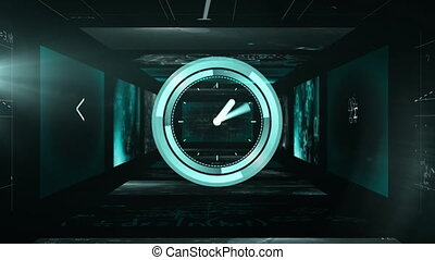 Animation of a clock ticking and mathematical formulae ...