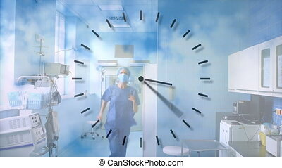 Animation of a clock ticking over doctors running through hospital hallway.