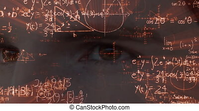 Animation of a close up view of eyes of Caucasian man with floating mathematics formulae
