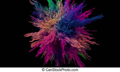 Animation of a colored explosion of a powderl. 3D rendering.