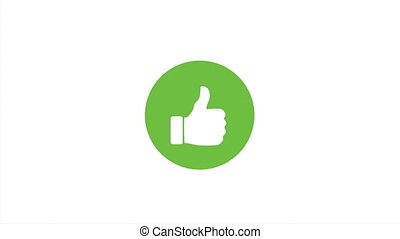 Animation of a cool thumbs like icon with green circle, 4K
